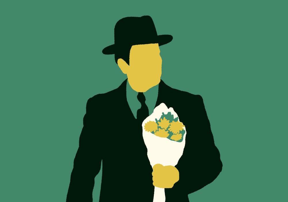 花束を持つ紳士